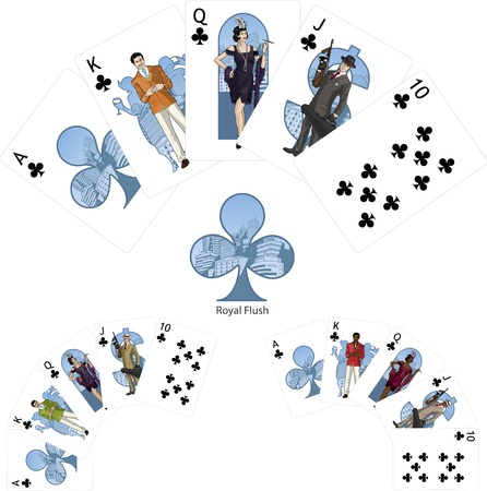 Royal Flush Clubs poker winning combination three color variations of characters Mafia card set Vector