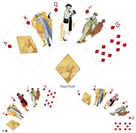 Royal Flush Diamonds poker winning combination three color variations of characters Mafia card set Vector