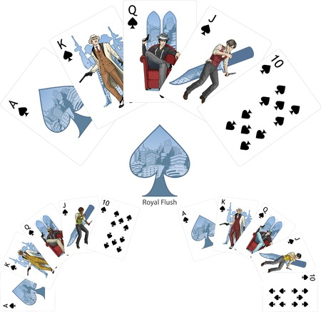 Royal Flush Spades poker winning combination three color variations of characters Mafia card set Vector