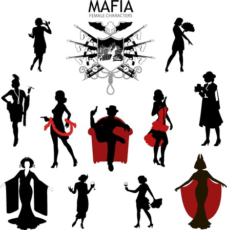 mafia: Set of female sihlouettes retro 1930s style Mafia theme gangster actress dancer starlet journalist  Illustration