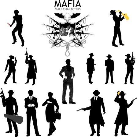 males: Set of male sihlouettes retro 1930s style Mafia theme gangster musitian police