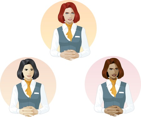 mixed race: in air hostess uniform ready to answer support expert caucasian asian and mixed race women of color Illustration