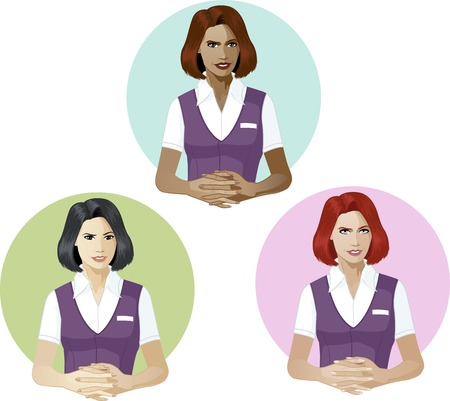 mixed race: Woman in service uniform ready to answer support expert caucasian asian and mixed race women of color Illustration