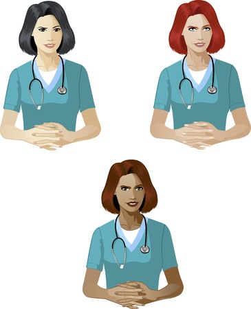 mixed race: Woman in medic uniform ready to answer support expert caucasian asian and mixed race women of color Illustration