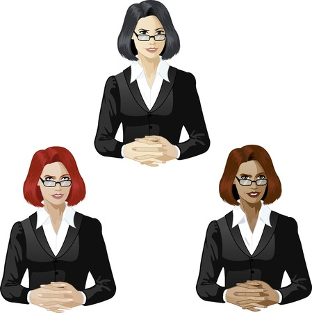 mixed race: Woman in black suit ready to answer support expert caucasian asian and mixed race women of color