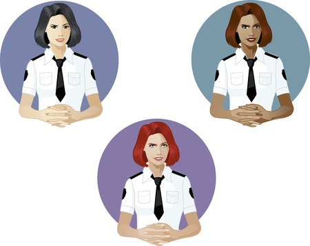 mixed race: Woman in police uniform ready to answer support expert caucasian asian and mixed race women of color