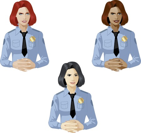 Woman in blue police uniform ready to answer support expert caucasian asian and mixed race women of color