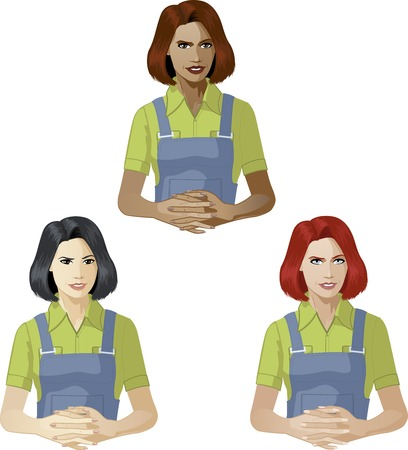 mixed race: Woman in worker uniform ready to answer support expert caucasian asian and mixed race women of color