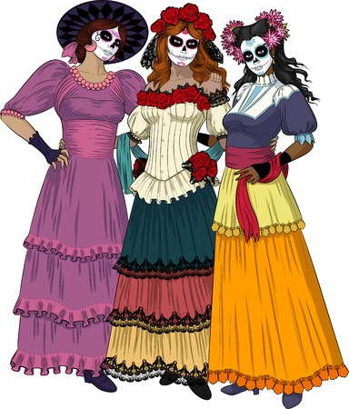 Three beautiful women friends stand hugging and posing as classical Graces dressed for Mexican Day of the Dead Masquerade with sugar scull makeup