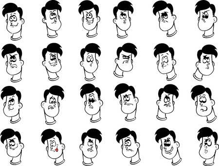 Set of 24 cartoon male faces with emotional expressions ink drawing lineart