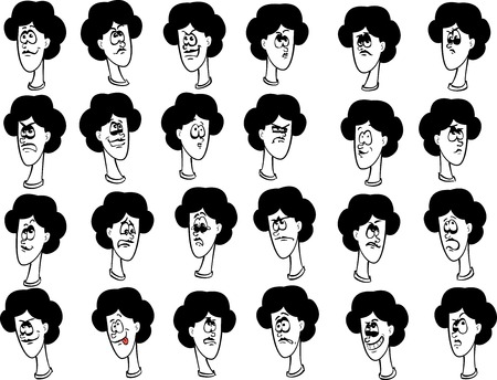 Set of 24 cartoon female faces with emotional expressions ink drawing lineart