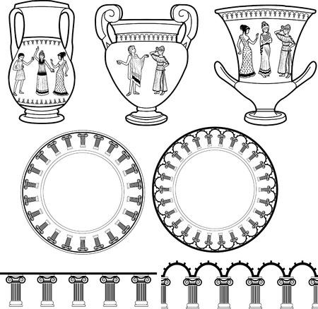 teatro antiguo: Conjunto de utensilio de griego antiguo decorado con figuras humanas en poses dramáticas y pilar ornamento Vectores