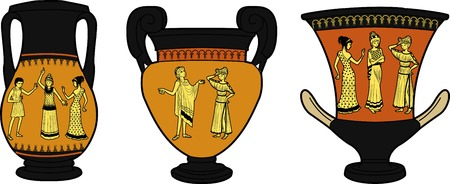 amphora: Set of Ancient Greek utensil decorated with human figures in dramatic poses