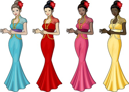 chineese: Beautiful woman in chineese wedding gown set of 4 races and design options