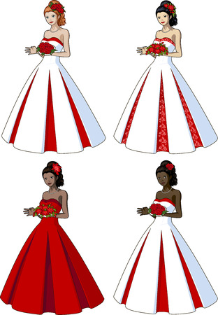 prom dress: Beautiful woman in classic white with red wedding gown set of 4 races and design options Illustration