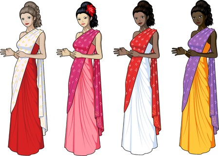 chineese: Beautiful woman in indian sari wedding gown set of 4 races and design options Illustration