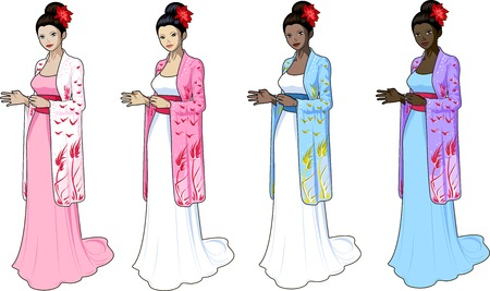prom dress: Beautiful woman in n wedding gown with japaneese style elements set of 4 races and design options