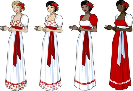 prom dress: Beautiful woman in wedding gown with slavic style elements set of 4 races and design options
