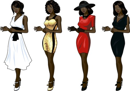 Set of 4 figures African American woman various hairdo clothes and accessories