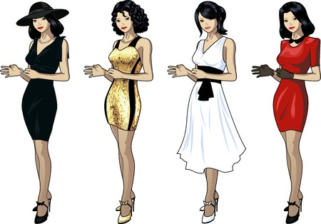 chineese: Set of 4 figures Asian woman various hairdo clothes and accessories Illustration