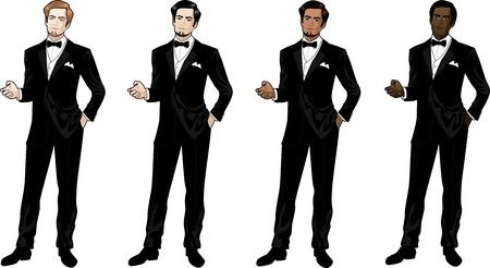 Человек в черный смокинг и галстук-бабочка кавказских Азии индийский афро-американец Иллюстрация