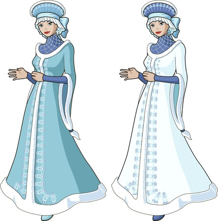 Snow Maiden character beautiful girl in long fur coat blue and white traditional russian slavic costume