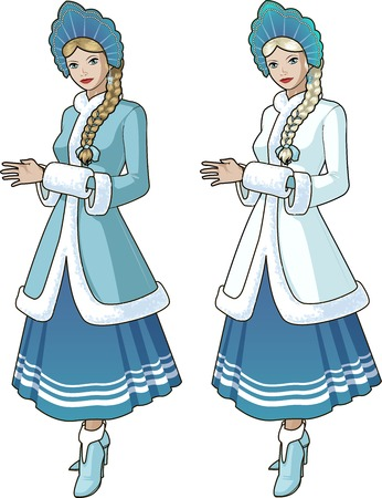Snow Maiden character beautiful girl in blue and white traditional russian slavic costume with blond braid Illustration