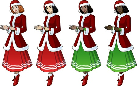 mixed race girl: Young woman in red and green Christmas costume with long skirt 4 races Caucasian Asian Indian African American Illustration