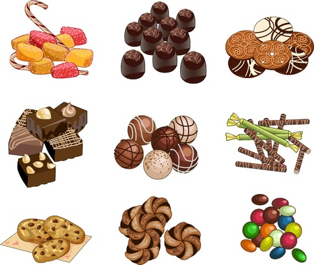 high calorie foods: Set of cookies chocolate sweets and candies vector illustrations