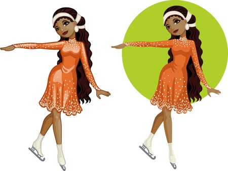 mixed race girl: Cute young African American woman  figure skater vector illustration in cartoon and flat design style Illustration