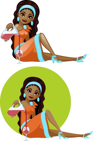 mixed race: Cute young African American woman in cocktail dress filling wine glass vector illustration in cartoon and flat design style