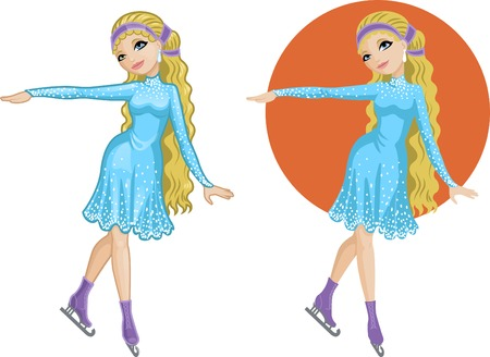 skaters: Cute young Caucasian woman figure skater vector illustration in cartoon and flat design style