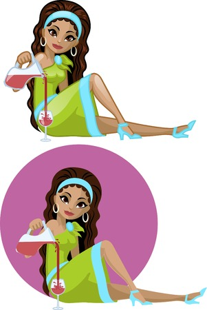 Cute young Indonesian woman in cocktail dress filling wine glass vector illustration in cartoon and flat design style Illustration