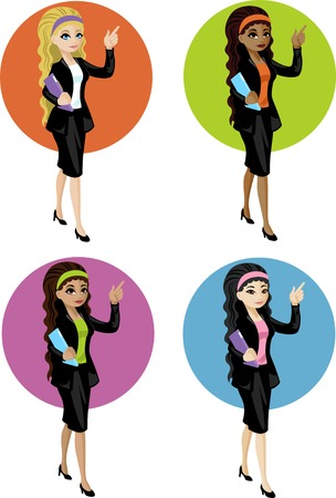 mixed race: Cute young Caucasian Asian Indonesian and African American office woman with file pointing at something vector illustration in cartoon flat design style