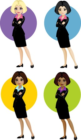 Cute young Caucasian Asian Indonesian and African American office woman vector illustration in cartoon flat design style Illustration