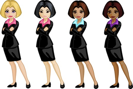asian office lady: Cute young Caucasian Asian Indonesian and African American office woman vector illustration in cartoon style Illustration