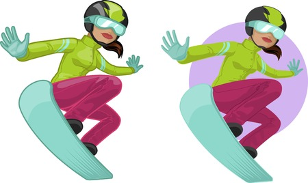 mixed race girl: Cute young Indonesian woman on snowboard vector illustration in cartoon and flat design style