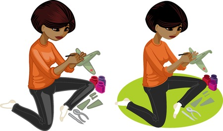 hobbyist: Cute young African American woman  hobbyist  painting an airplane model vector illustration in cartoon and flat design style