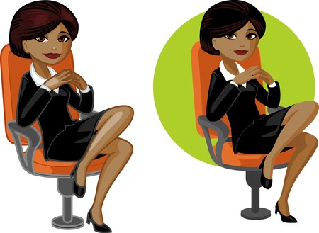 consultants: Cute young African American office woman on chair vector illustration in cartoon style