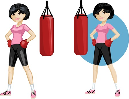 empowerment: Cute young Asian woman boxer vector illustration in cartoon and flat design style Illustration