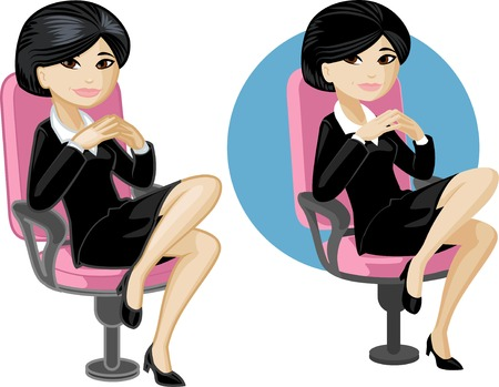 arm chair: Cute young Asian office woman on chair vector illustration in cartoon style