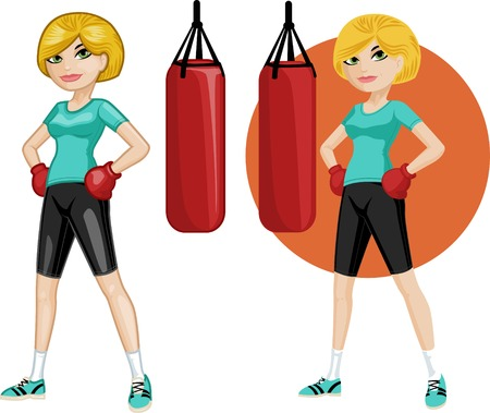 brave of sport: Cute young Caucasian woman boxer vector illustration in cartoon and flat design style Illustration