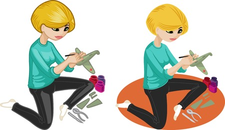 hobbyist: Cute young caucasian woman  hobbyist  painting an airplane model vector illustration in cartoon and flat design style