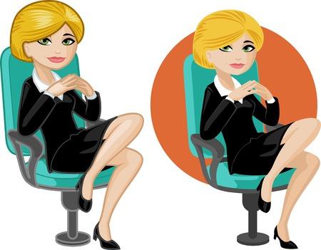 Mignon jeune femme de race blanche de bureau sur une chaise illustrations vectorielles en style cartoon