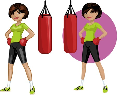mixed race girl: Cute young African American woman boxer vector illustration in cartoon and flat design style