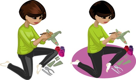 hobbyist: Cute young Indonesian woman  hobbyist  painting an airplane model vector illustration in cartoon and flat design style
