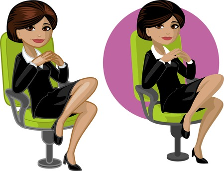 mixed race girl: Cute young Indonesian office woman on chair vector illustration in cartoon style