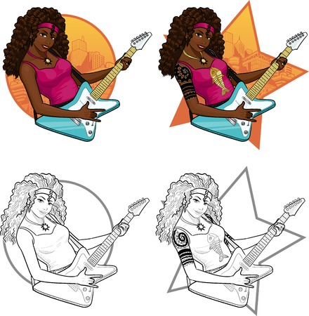 mixed race girl: Female African American rock musician with tattoos playing electric guitar vector illustration in comics cartoon and lineart style with background