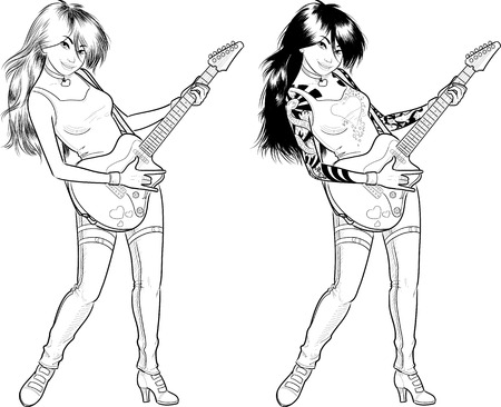 Female Asian rock musician with tattoos playing electric guitar vector illustration in comics lineart style Illustration
