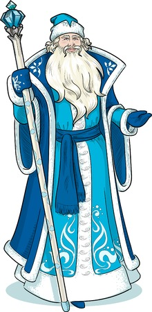 Russian Christmas and New Year Mythological Character Father Frost in blue coat with black lineart illustration Vettoriali